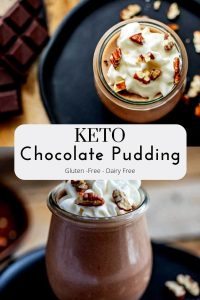 """One overhead photo of Keto Chocolate Pudding and one side photo of the pudding with the text in a white overlay in the middle """"Keto Chocolate Pudding - Gluten Free - Dairy Free"""""""