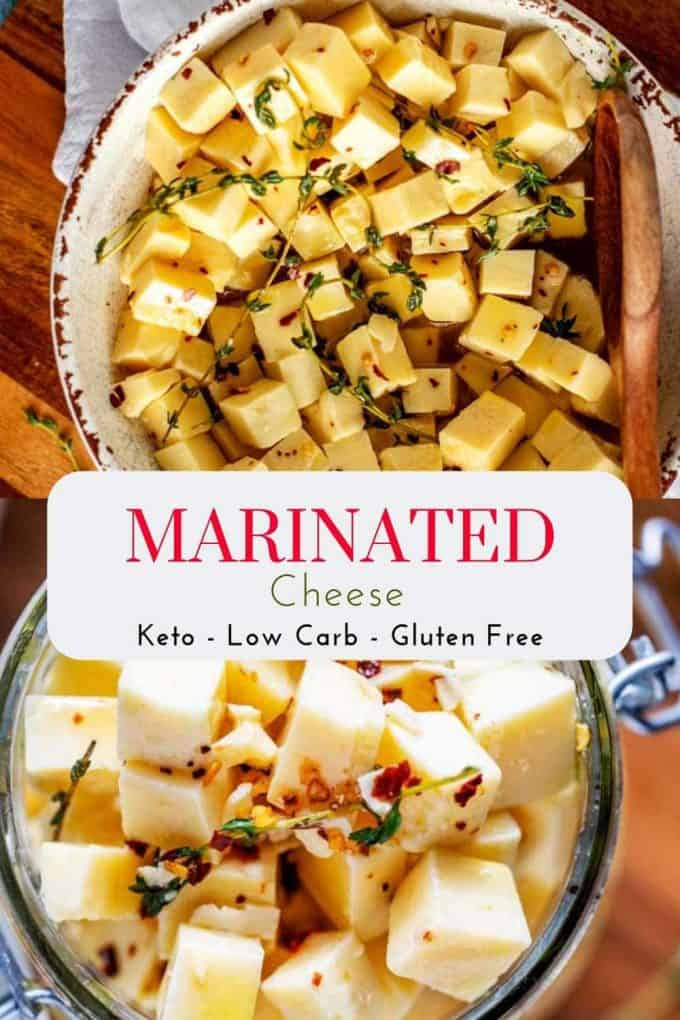"Two photos of Marinated cheese - one in a bowl and one in a jar - with the text ""Marinated Cheese - Keto - Low Carb - Gluten Free"" on a white overlay."