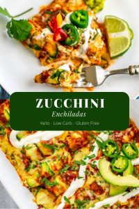 These Zucchini Enchiladas with Chicken are a healthy keto alternative that are perfect for your low carb diet! #KetoRecipes #ZucchiniEnchiladas