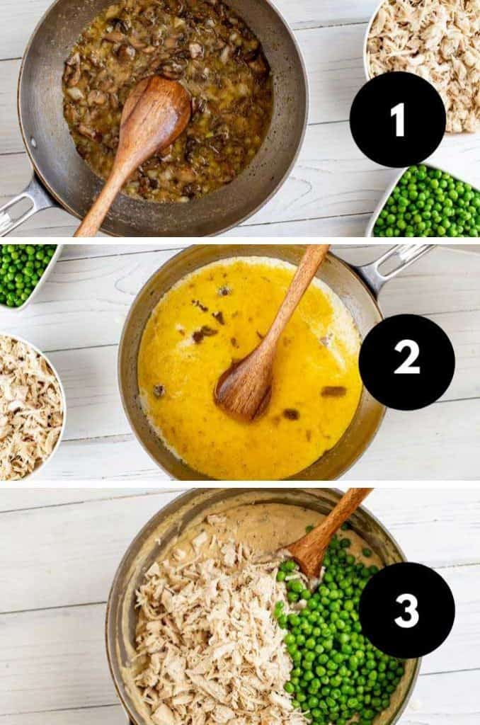 Collage of the first three steps to make chicken pot pie.