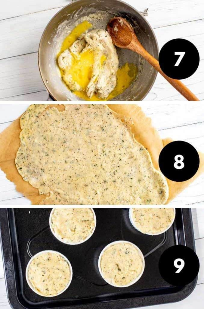 Collage of the last three process steps for making pot pie.