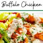 Close up photo of Keto Buffalo Chicken on a white plate garnished with parsley with the recipe title above it.