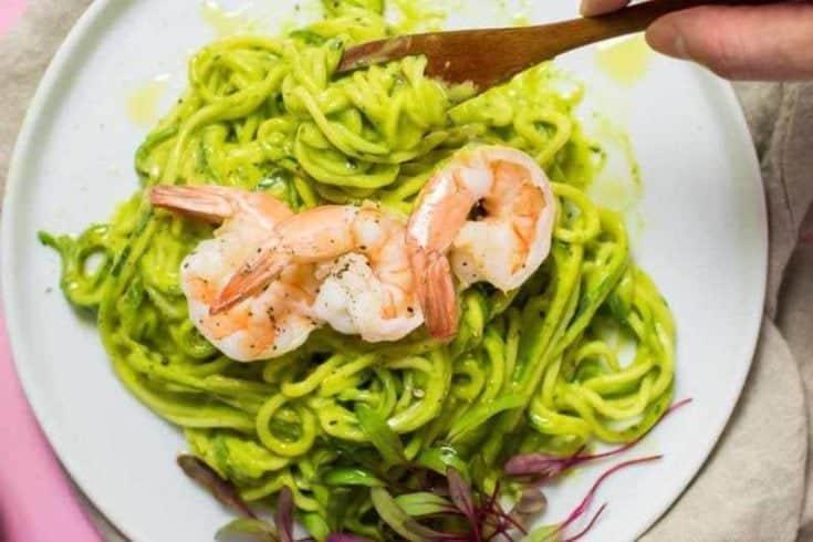 Zucchini Pasta Shrimp with Avocado Basil Pesto