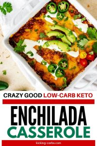 """Overhead photo of Keto Enchilada Casserole in a white 8 x 8 casserole dish with the text """"Crazy Good Low Carb Enchilada Casserole"""" below."""