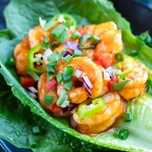 Buffalo Shrimp Lettuce Wrap Tacos