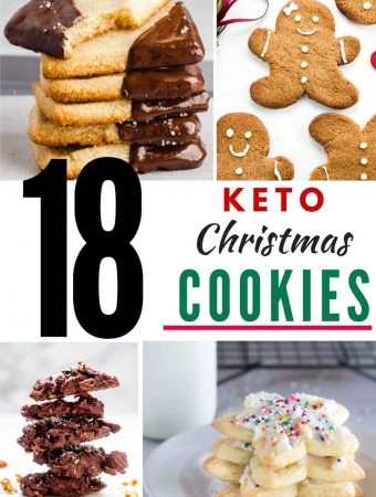 "Photos of 4 Keto Christmas Cookies in a collage with the text in the center that says ""18 Keto Christmas Cookies"""