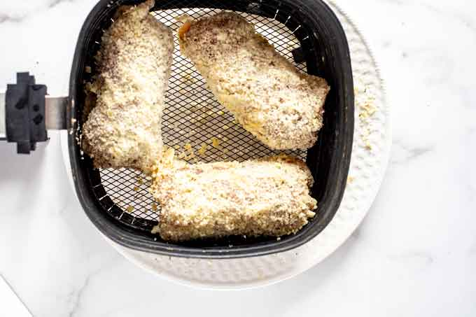 Photo of chicken cordon bleu in an air fryer.