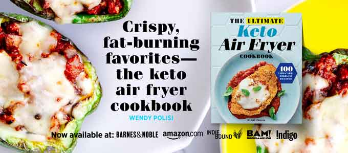 "Photo of the cover of the Ultimate Keto Air Fryer Cookbook by Wendy Polisi and the text that says. ""Crispy, fat-burning favorites - the keto air fryer cookbook.:"