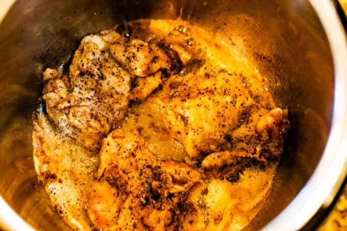 Photo of Lemon Chicken Cooking in an Instant Pot.