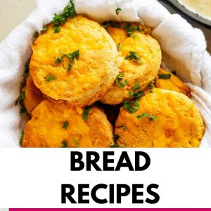 Photo of keto biscuits with the text that says Bread Recipes.