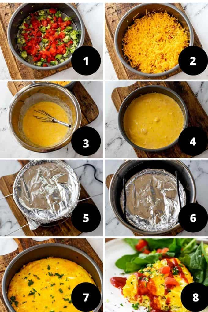 Photo collage of the step by step images of the process of making an Instant Pot Frittata.