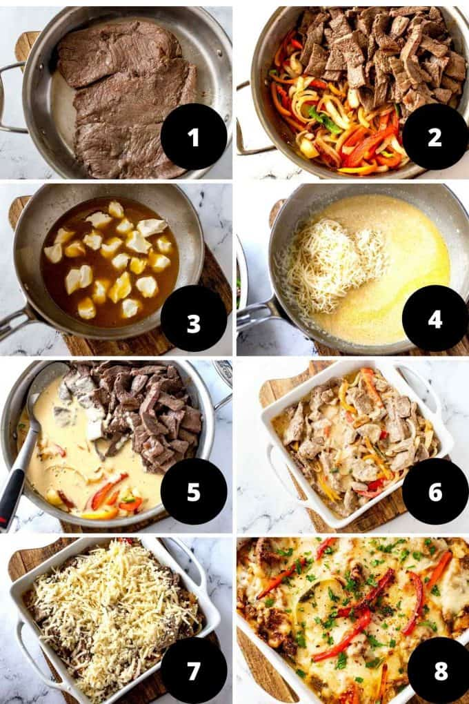 Photo collage of step by step images of the process of making Keto Philly Cheesesteak Casserole.
