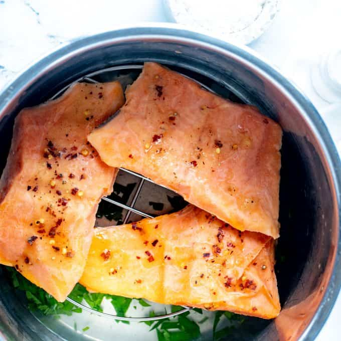 Frozen salmon in an instant pot ready to be cooked.