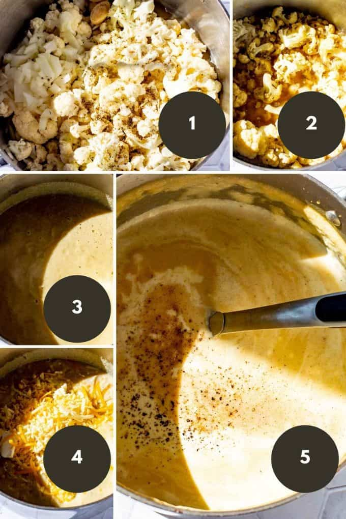 Photo collage of the steps to make Keto Cauliflower Soup.