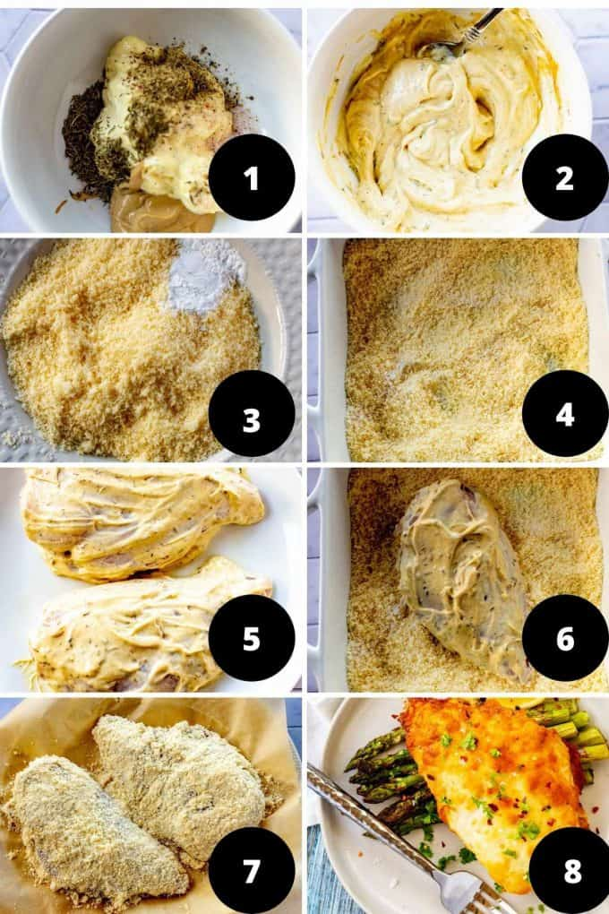 Photo collage of eight step by step process photos to make low carb parmesan chicken.