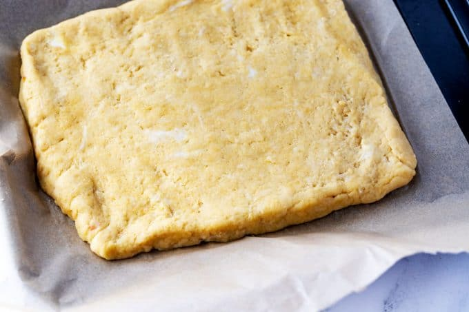 Photo of the dough for keto cheese breadsticks.