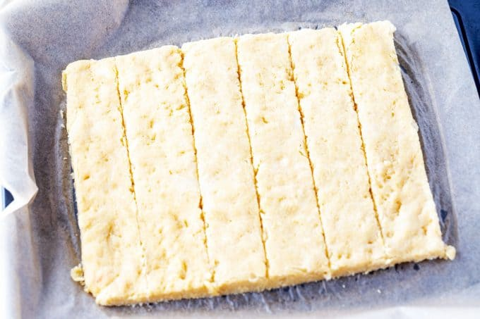 Photo of keto cheese breadsticks cut.