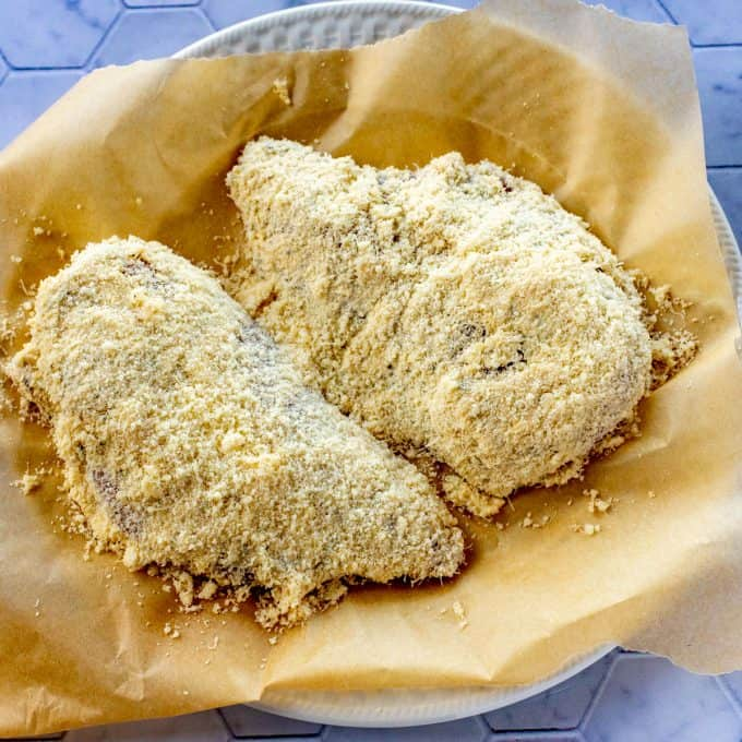 Photo of parmesan crusted chicken ready to be cooked.