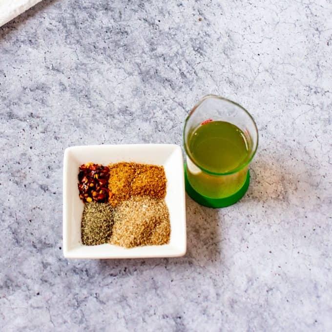 Seasonings and vinegar for collard greens.