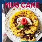 Overhead photo of a low carb mug cake with the text overlay that says family favorite keto chocolate chip mug cake, 4 net carbs.