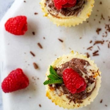 Square overhead photo of two Keto Cheesecake Bites garnished with a raspberry and mint.