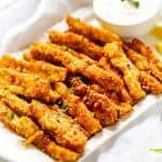 Square photo of keto zucchini fries.