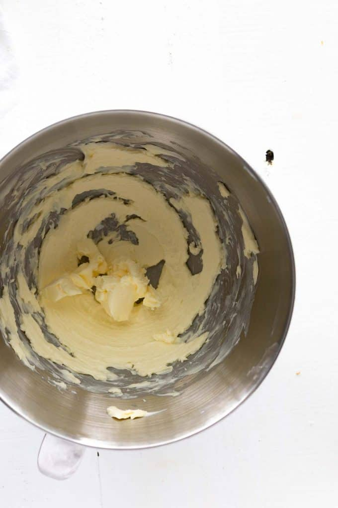 photo of butter whipped in the bowl of a stand mixer.