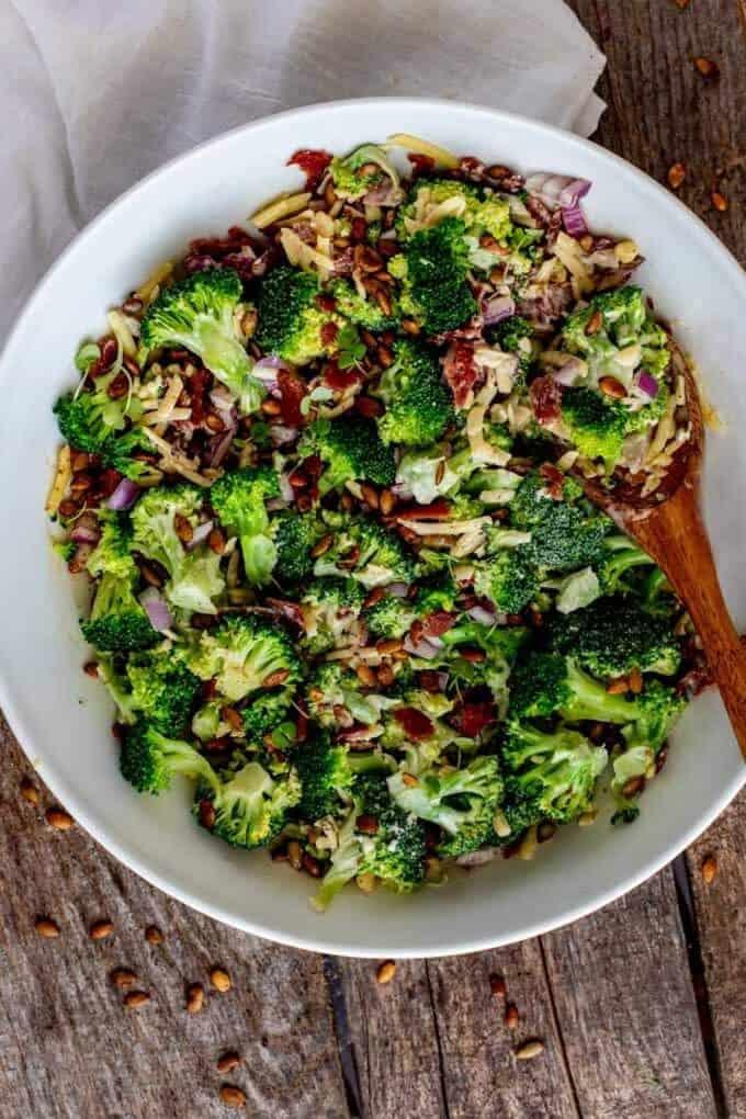 Overhead photo of a large white bowl of Keto Broccoli Salad.